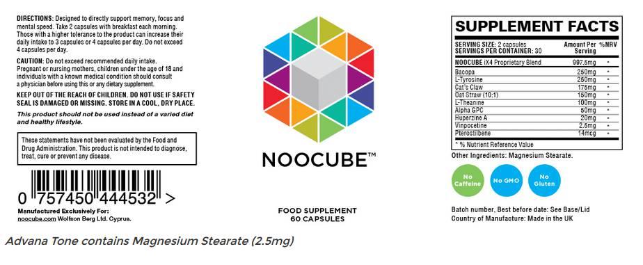 noocube capsules etiket